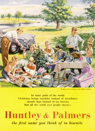 Christmas in Australia, Huntley and Palmers biscuits 1956