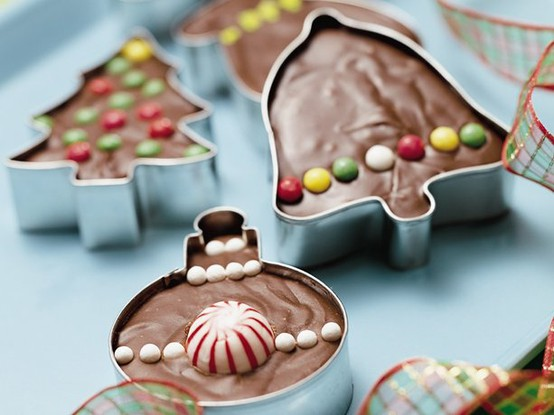 Christmas Presents Fudge in cookie cutters.