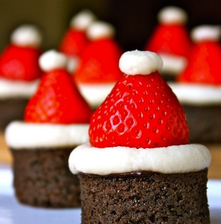 Christmas Santa Hat Brownie Bites