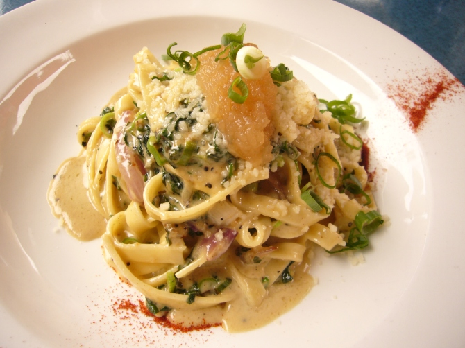 Blue Vein & BabySpinach FettuccineSautéed with red onion, lemon balm & mint finished with truffled apple salsa & Parmesan.