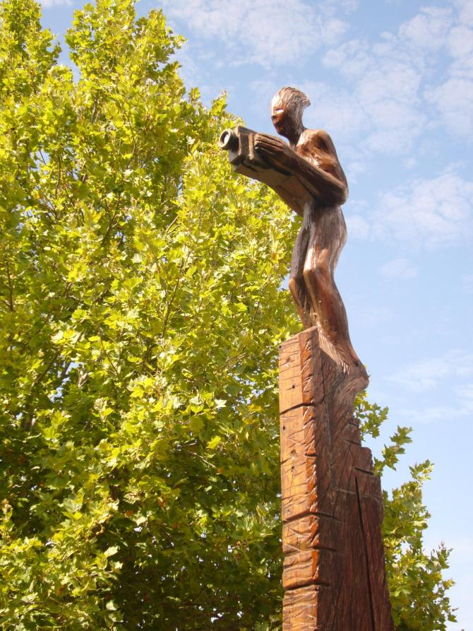 The Red Surveyor by Jon Tarry, looks out over East Perth from his vantage point at Boan Place recording all the changes