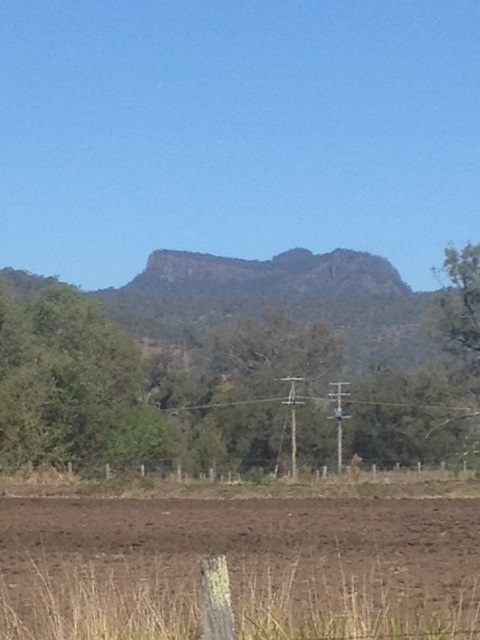 A distant view of Castle Mountain