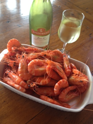 Australians call them prawns, not shrimp. Shrimp are teeny tiny, well, shrimp.