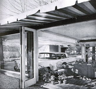 "A few homes in the early 1960s had this ""glass garage"" so you could view your large automobile from your deck or patio."