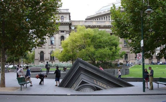Sinking Building outside the State Library, Melbourne, Australia