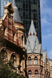 Victorian architecture on Collins Street, Melbourne, Australia.