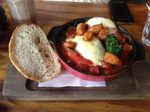 Baked eggs with chorizo?