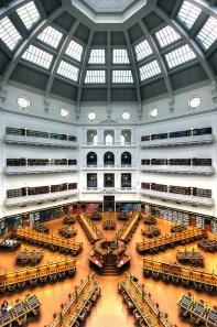 La Trobe Reading Room showing Dome, State Library of Victoria. Melbourne Australia