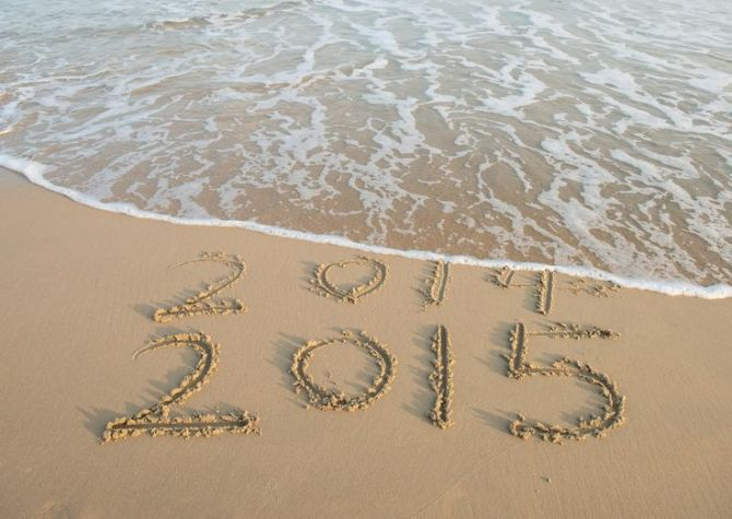 new year 2015 written in sand