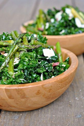 Massaged Kale Salad with Asparagus, Asiago, and Bacon