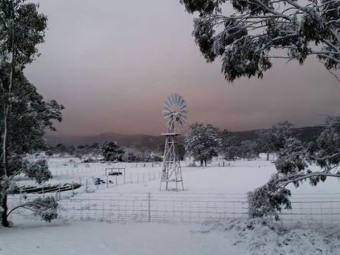 Snow at Wallangarra, south of Stanthorpe, makes for a unique Queensland landscape.