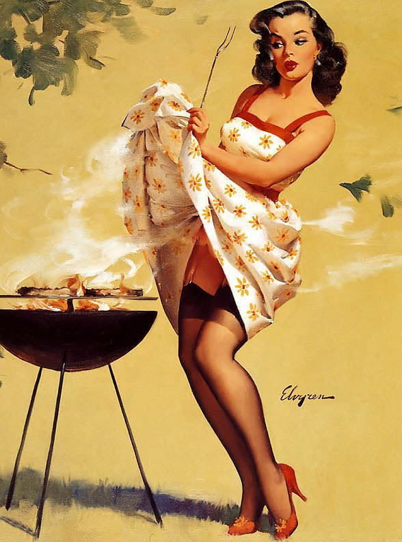 TITLE- Smoke Screen DATE- 1958 NOTES- Publisher- Brown & Bigelow. by Gil Elvgren (1914-1980)